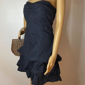 Navy ruffle strapless polka dot mini dress!